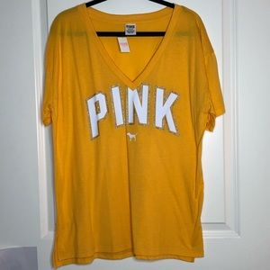 Pink Victoria's Secret yellow logo V-neck tee